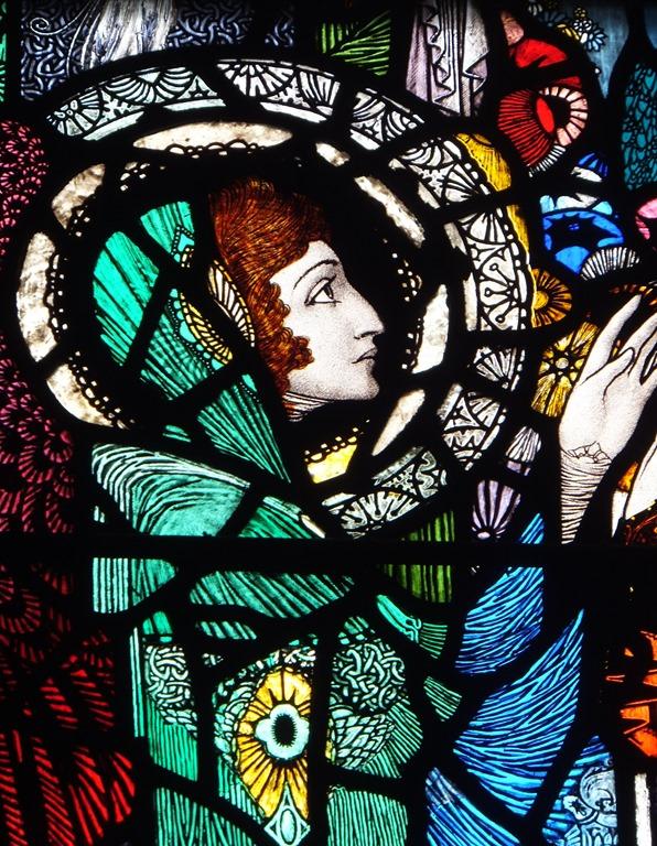 Harry Clarke stained glass window of angel of grace