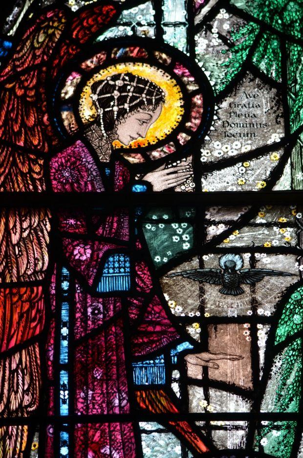 Harry Clarke stained glass window of a female Irish saint