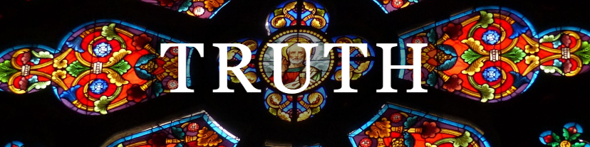 Truth with stained glass windows background